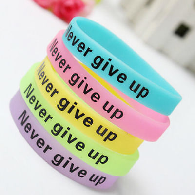 "Random ""Never give up"" Sport Wrist Strap Glow In Dark Silicone Rubber Bracelet"