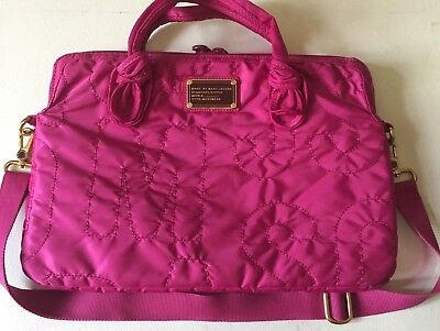 """MARC BY MARC JACOBS Workwear 13"""" Laptop Messenger Bag Quilted Nylon Magenta"""