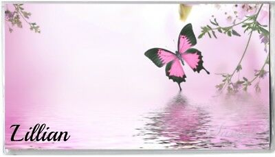 Personalized Checkbook Cover - Pink Butterfly and Flowers