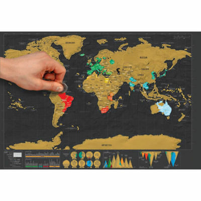 Deluxe Travel Edition Scratch Off World Map Poster Personalized Journal Log CH