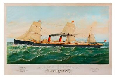 SERVIA - Cunard Line built 1881 digital Art Postcard Modern
