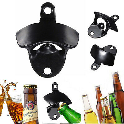 Black Wall Mount Bar Wine Beer Soda Glass Cap Bottle Opener Open Kitchen Tool