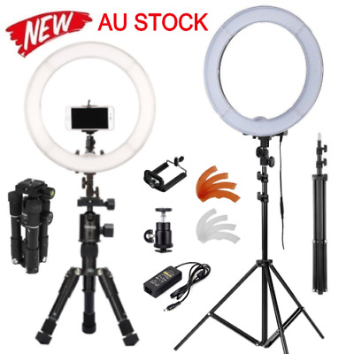 "AU ES180 LED 13"" 40W 5500K Dimmable Ring Light, Diffuser, Light Stand , Tripod"