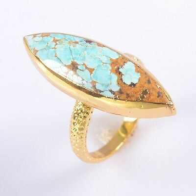 Size 6.25 Natural Genuine Turquoise Ring Gold Plated B041912