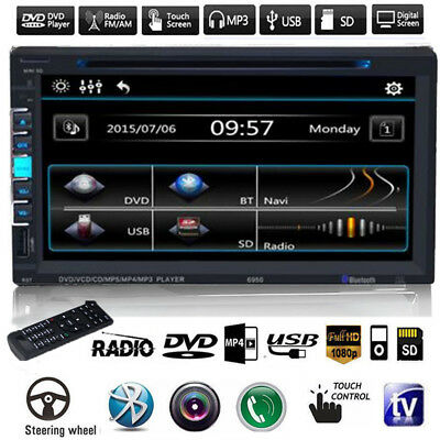"7"" Car Stereo DVD CD Player In-Dash Audio Radio Single 2 DIN Bluetooth Mic FM AM"