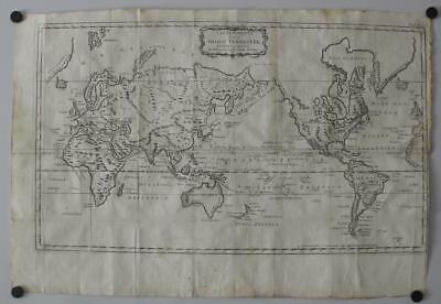 1781 Bellin Unusual Antique Word Map On Mercator's Projection Italian Edition