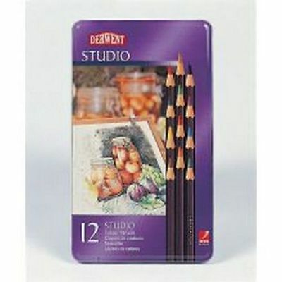 Derwent Studio Coloured Pencils Tin - 12 Colours