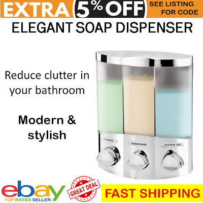 Shower Soap Dispenser Shampoo Conditioner Holder Bathroom Hotel Motel Wall Pump