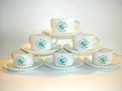 * 6 Tasses Haviland Limoges A The Ou Chocolat