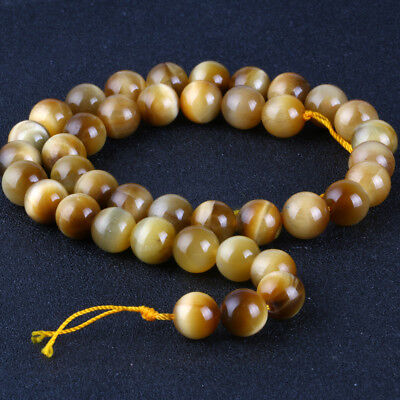 Natural Gemstone Round Gold tiger stone Spacer Loose Beads 4 6 8 10 12mm Stones