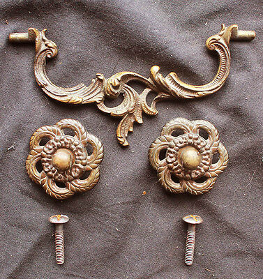 4 avail Antique Vintage Art Nouveau Brass Drawer Cabinet Furniture Pulls Handles