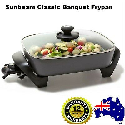 Sunbeam Classic Banquet Electric Frypan Family Large Non Stick Frying Pan Cooker
