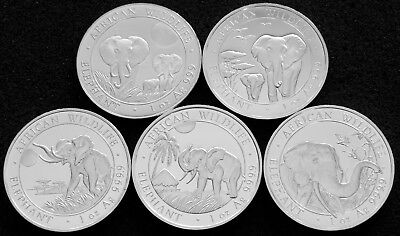 Lot Of 5 -  1 Troy Oz Silver Somalian African Elephant (2014-2018)  Bu!