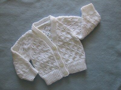Baby's  White  Hand Knitted Lacy V Neck Cardigan