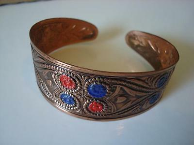 Copper Tone Cuff Bracelet With Red and Blue Painted Floral Design