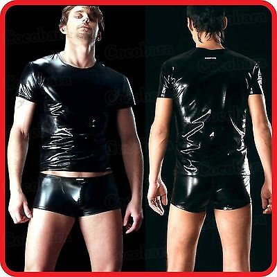 Men's Black Latex/leather Metallic Look  2 Piece T-Shirt & Shorts / Body Suite