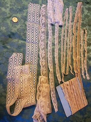 Lot of Antique French Val lace trim  cotton  9+ yards