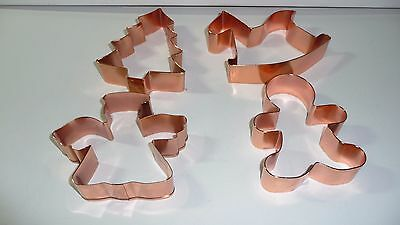 "4 Large Copper Christmas Cookie Cutters Sizes Of 4""or 10 cm to 5"" or 12.75 cm"