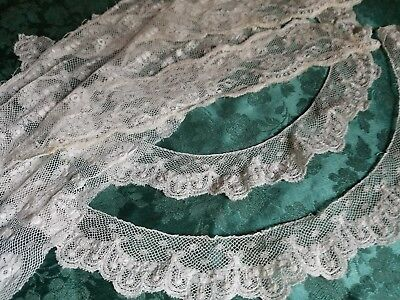lot of  AntiqueFrench Val  lace collars  trim cotton