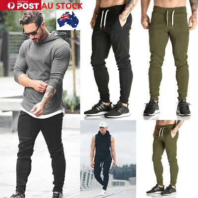 AU Men's Long Pants Boy Gym Joggers Sports Sweatpants Skinny Tracksuit Trousers