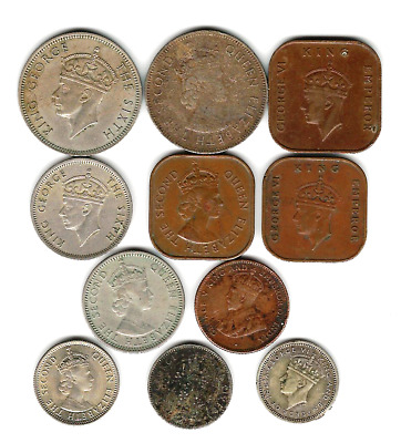 11 different world coins from BRITISH MALAYA