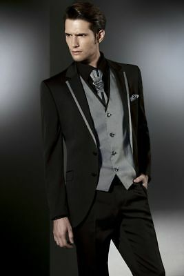 Black Grey Men's Wedding Suits Groom Tuxedos Formal Best Mans Party Suits Custom
