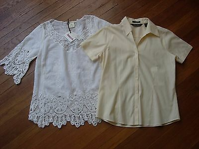 Lot Of 2 Womens Tops/blouses In In Ivory And Lite Yellow In Size S