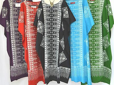 MALAYA 100% Cotton Kaftan Dress Maxi Long Tunic Batik Curve Curvy Large Plus New