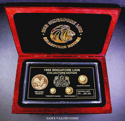 1993  Singapore Lion Collection Edition - 4 Gold/gold Plated Coins - 500 Mintage