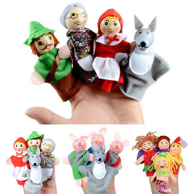 Pretty Little Mermaid Toy Finger Puppets Wooden Cartoon Toys Storytelling 4 PCS