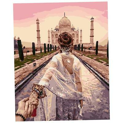 DIY Acrylic Painting By Number Kit Girl & Taj Mahal Canvas Abstract Painting