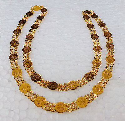 South Indian Style Gold Plated Coin Necklace American Fashion Long Chain Mala