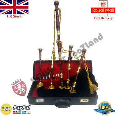 New Great Highland Bagpipes Brass Engraved  Amounts With Accessories &Tutor Book