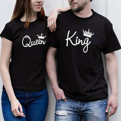 Couple Casual T-Shirt King and Queen Love Matching Shirts Summer Tee Tops