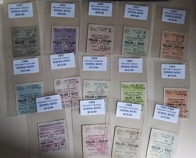 1953 - 1965 ENGLAND SCHOOLS MATCH TICKETS  x 14 sold as one collection. SEE LIST