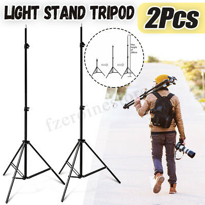 2x Adjustable Photo Photography Studio 2m Light Stand Tripod For Flash Lighting