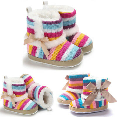 Toddler Baby Girls Shoes Winter Warm Soft Crib Sole Snow Boots Anti-slip Boots