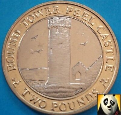 2007 RARE ISLE OF MAN £2 Two Pound Round Tower Peel Castle UNC Coin IOM