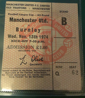 1974 - 75 Manchester United Vs Middlesboro Match Ticket-  League Cup 5Th. Replay