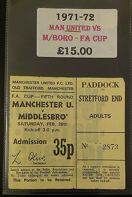 1971 - 72 Manchester United Vs Middlesbrough  Match Ticket - F.a. Cup 5Th Round