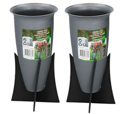 Set of 2 Memorial Grave Vases on Stands Cemetery Crematorium Flower Vases Pots
