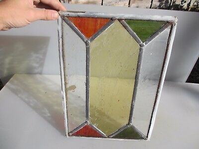 Vintage Stained Glass Window Panel Architectural Reclaim Leaded Old