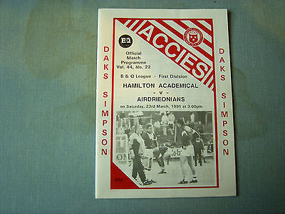 HAMILTON v AIRDRIE Scottish Div 1 1990-91
