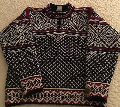 DALE of NORWAY Wool Sweater Gore WS Pewter Clasps Windstopper Snowflake Sz S