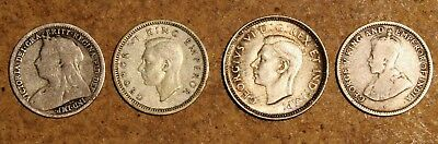 4 lot UK British Commonwealth 1899 1916 1937 1942  - 10 CENT 4P 3P silver coins