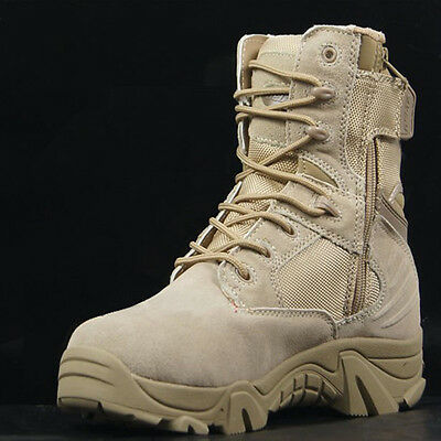 Men's Outdoor High Top Ankle Boots Military Tactical Combat Hiking Comfort Shoes