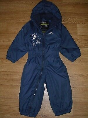 TRESPASS Boys Blue Hooded Waterproof Rain Fleece Lined Puddle Suit Age 18-24m