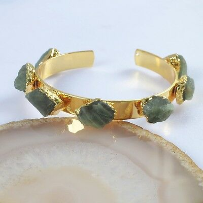 Freeform Rough Natural Green Apatite Bangle Gold Plated T039639