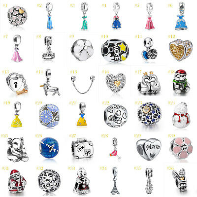 European Silver Charms CZ Fine Beads Pendant Fit 925 sterling Bracelet Chain