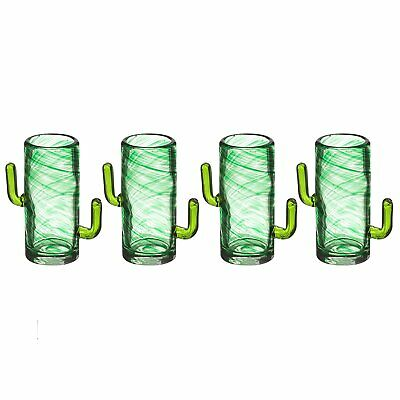 Pack of 4 Novelty CACTUS Double SHOT GLASSES Cool Drinking Gift Set Unique 50ml